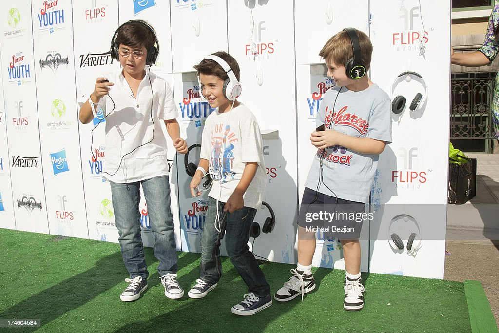 Blake Rosenthal, Shane Rosenthal and Bryce Grubic attend Flips Audio At Variety Power of Youth at Universal Studios Backlot on July 27, 2013 in Universal City, California.