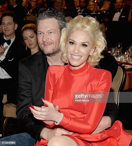 Blake Shelton and Gwen Stefani attend the 2016 PreGRAMMY Gala and Salute to Industry Icons honoring Irving Azoff at The Beverly Hilton Hotel on...
