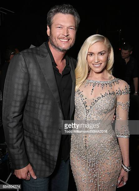 Blake Shelton and Gwen Stefani backstage at the 2016 Billboard Music Awards at the TMobile Arena on May 22 2016 in Las Vegas Nevada