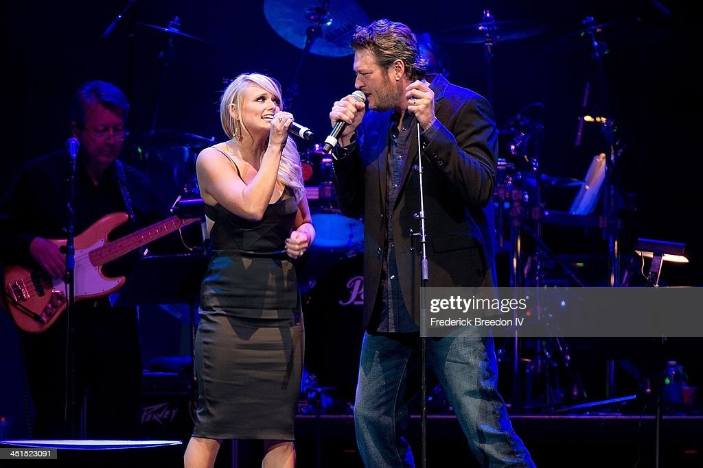 <a gi-track='captionPersonalityLinkClicked' href=/galleries/search?phrase=Blake+Shelton&family=editorial&specificpeople=2352026 ng-click='$event.stopPropagation()'>Blake Shelton</a> and <a gi-track='captionPersonalityLinkClicked' href=/galleries/search?phrase=Miranda+Lambert&family=editorial&specificpeople=571972 ng-click='$event.stopPropagation()'>Miranda Lambert</a> perform during Playin' Possum! The Final No Show Tribute To George Jones at Bridgestone Arena on November 22, 2013 in Nashville, Tennessee.