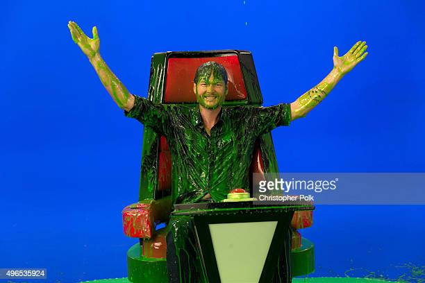 Blake Shelton at the behind the scenes promo shoot for Nickelodeon's 2016 Kids' Choice Awards on November 10 2015 in Los Angeles California