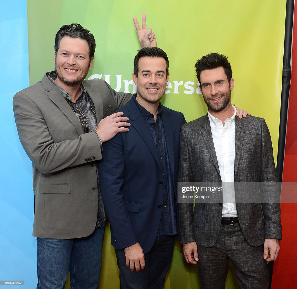 <a gi-track='captionPersonalityLinkClicked' href=/galleries/search?phrase=Blake+Shelton&family=editorial&specificpeople=2352026 ng-click='$event.stopPropagation()'>Blake Shelton</a>, <a gi-track='captionPersonalityLinkClicked' href=/galleries/search?phrase=Carson+Daly&family=editorial&specificpeople=202941 ng-click='$event.stopPropagation()'>Carson Daly</a> and <a gi-track='captionPersonalityLinkClicked' href=/galleries/search?phrase=Adam+Levine+-+S%C3%A4nger&family=editorial&specificpeople=202962 ng-click='$event.stopPropagation()'>Adam Levine</a> attend NBCUniversal's '2013 Winter TCA Tour' Day 1 at Langham Hotel on January 6, 2013 in Pasadena, California.