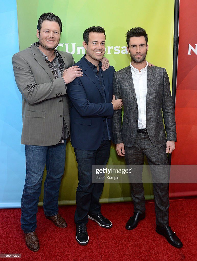 <a gi-track='captionPersonalityLinkClicked' href=/galleries/search?phrase=Blake+Shelton&family=editorial&specificpeople=2352026 ng-click='$event.stopPropagation()'>Blake Shelton</a>, <a gi-track='captionPersonalityLinkClicked' href=/galleries/search?phrase=Carson+Daly&family=editorial&specificpeople=202941 ng-click='$event.stopPropagation()'>Carson Daly</a> and <a gi-track='captionPersonalityLinkClicked' href=/galleries/search?phrase=Adam+Levine+-+Chanteur&family=editorial&specificpeople=202962 ng-click='$event.stopPropagation()'>Adam Levine</a> attend NBCUniversal's '2013 Winter TCA Tour' Day 1 at Langham Hotel on January 6, 2013 in Pasadena, California.