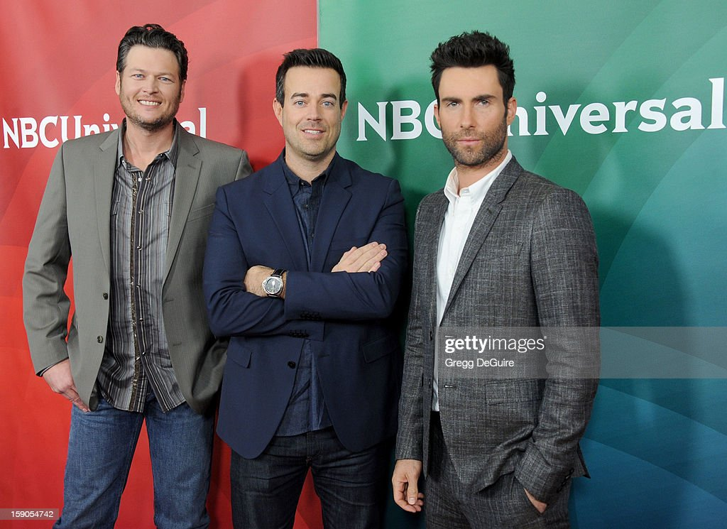 Blake Shelton, Carson Daly and Adam Levine pose at the 2013 NBC Universal TCA Winter Press Tour Day 1 at The Langham Huntington Hotel and Spa on January 6, 2013 in Pasadena, California.
