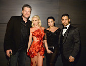 Blake Shelton Gwen Stefani Demi Lovato and Wilmer Valderrama attend the 2016 Vanity Fair Oscar Party Hosted By Graydon Carter at the Wallis Annenberg...