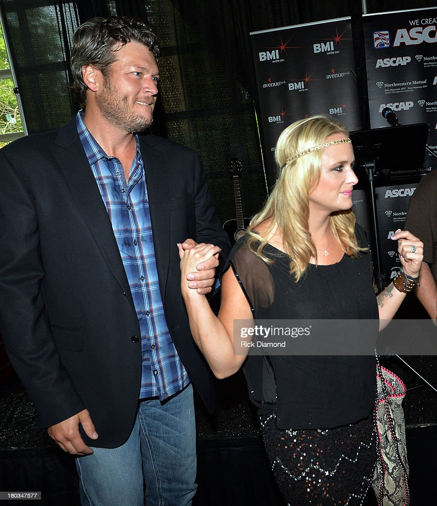 <a gi-track='captionPersonalityLinkClicked' href=/galleries/search?phrase=Blake+Shelton&family=editorial&specificpeople=2352026 ng-click='$event.stopPropagation()'>Blake Shelton</a> joins his wife <a gi-track='captionPersonalityLinkClicked' href=/galleries/search?phrase=Miranda+Lambert&family=editorial&specificpeople=571972 ng-click='$event.stopPropagation()'>Miranda Lambert</a> to Celebrate her No.1 Song 'Mama's Broken Heart' with co writers Kacey Musgraves, Brandy Clark and Shane McAnally at Cabana on September 11, 2013 in Nashville, Tennessee.