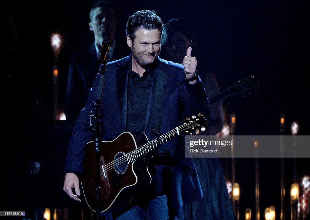 <a gi-track='captionPersonalityLinkClicked' href=/galleries/search?phrase=Blake+Shelton&family=editorial&specificpeople=2352026 ng-click='$event.stopPropagation()'>Blake Shelton</a> performs onstage during the 47th annual CMA Awards at the Bridgestone Arena on November 6, 2013 in Nashville, Tennessee.