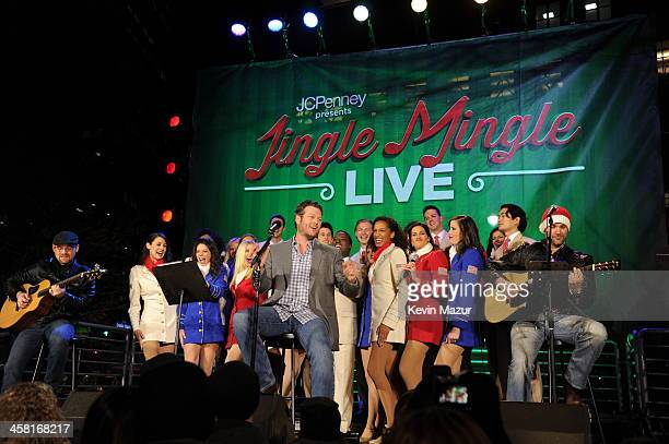 Blake Shelton sings onstage at a surprise holiday event and performance with the USO Show Troupe virtual carolers and spectacular 3D projection...