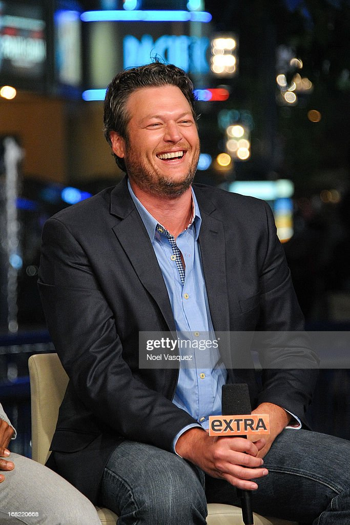 <a gi-track='captionPersonalityLinkClicked' href=/galleries/search?phrase=Blake+Shelton&family=editorial&specificpeople=2352026 ng-click='$event.stopPropagation()'>Blake Shelton</a> visits 'Extra' at The Grove on May 6, 2013 in Los Angeles, California.