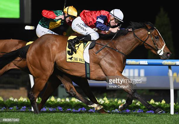 Blake Shinn riding Fenway wins Race 3 the StrathAyr Track Stocks Stakes during Melbourne Racing at Moonee Valley Racecourse on October 2 2015 in...