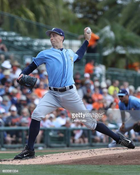 Blake Snell of the Tampa Bay Rays pitches during the first inning of the Spring Training Game against the Baltimore Orioles on March 14 2017 at Ed...