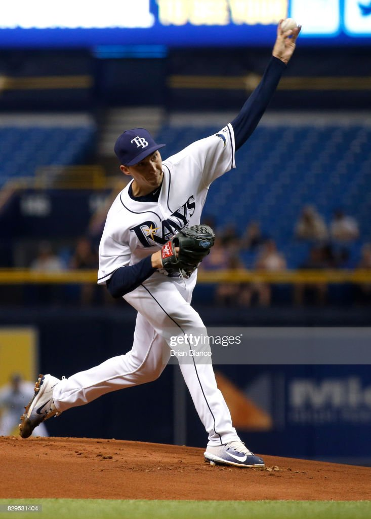 Blake Snell #4 of the Tampa Bay Rays pitches during the first inning of a game against the Cleveland Indians on August 10, 2017 at Tropicana Field in St. Petersburg, Florida.