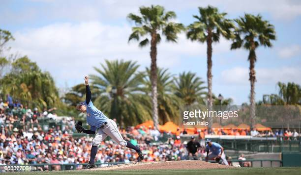 Blake Snell of the Tampa Bay Rays pitches during the third inning of the Spring Training Game against the Baltimore Orioles on March 14 2017 at Ed...