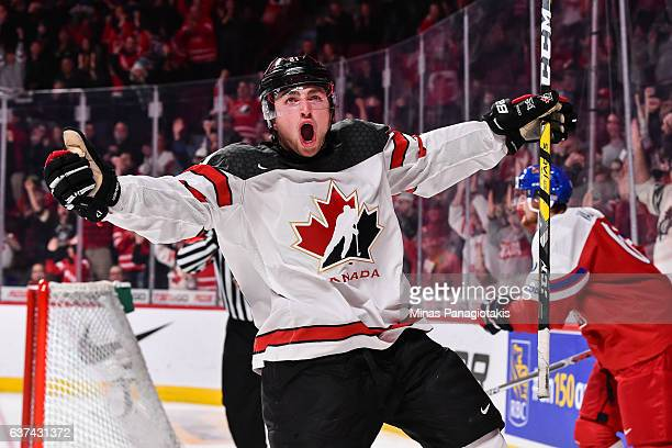 Blake Speers of Team Canada celebrates a second period goal during the 2017 IIHF World Junior Championship quarterfinal game against Team Czech...