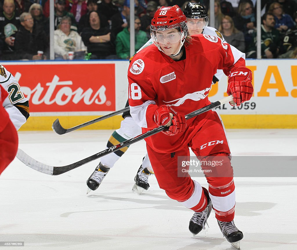 Blake Speers #18 of the Sault Ste. Marie Greyhounds skates against the London Knights during an OHL game at the Budweiser Gardens on December 4, 2013 in London, Ontario, Canada. The Knights defeated the Greyhounds 3-2.