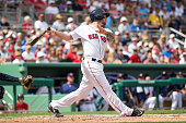 Blake Swihart of the Boston Red Sox bats against the Minnesota Twins during a spring training game on March 2 2016 at JetBlue Park in Fort Myers...