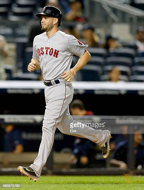Blake Swihart of the Boston Red Sox heads for home after hitting a three run home run in the first inning against the New York Yankees on September...