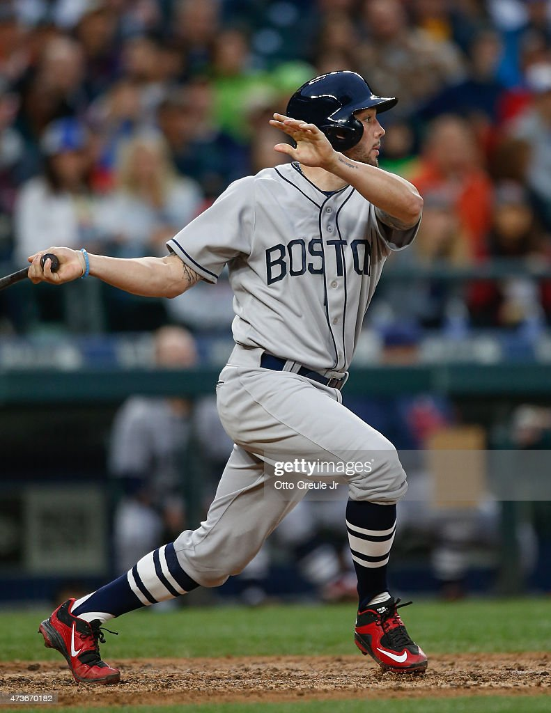 Blake Swihart #23 of the Boston Red Sox hits an RBI double in the sixth inning against the Seattle Mariners at Safeco Field on May 16, 2015 in Seattle, Washington.
