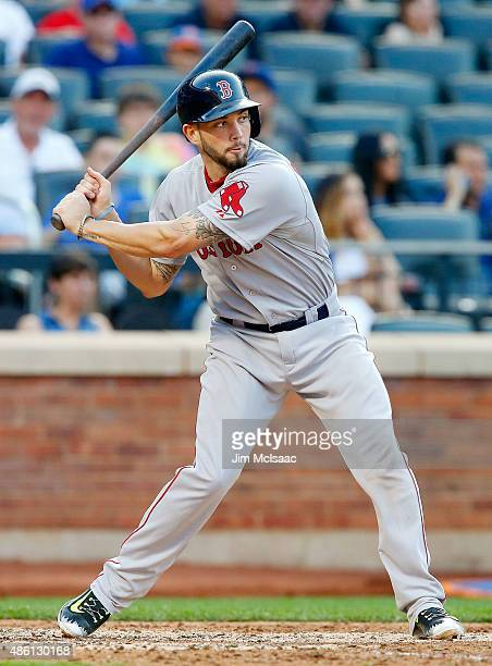 Blake Swihart of the Boston Red Sox in action against the New York Mets at Citi Field on August 29 2015 in the Flushing neighborhood of the Queens...