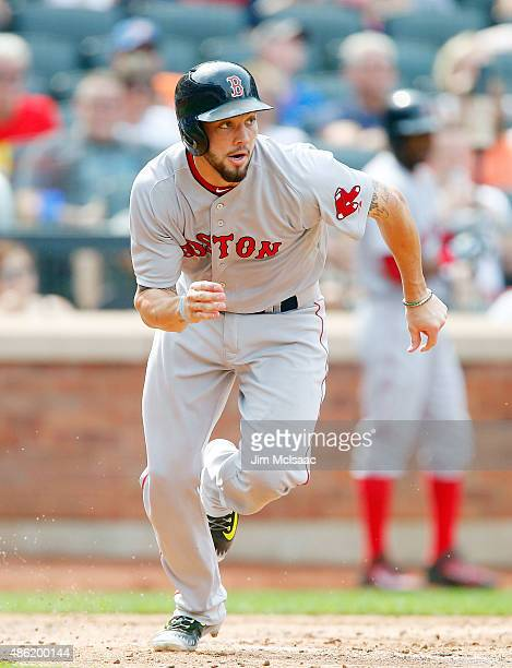 Blake Swihart of the Boston Red Sox in action against the New York Mets at Citi Field on August 30 2015 in the Flushing neighborhood of the Queens...