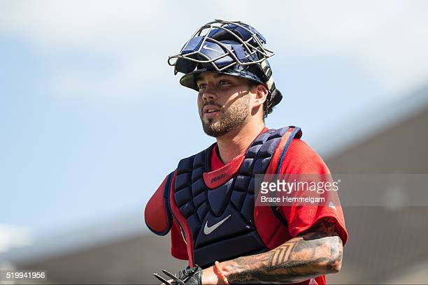Blake Swihart of the Boston Red Sox looks on against the Minnesota Twins during a spring training game on March 10 2016 at JetBlue Park in Fort Myers...
