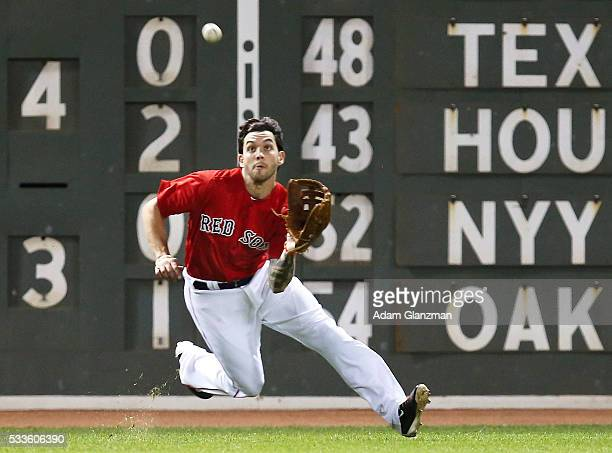 Blake Swihart of the Boston Red Sox makes a catch in the seventh inning during the game against the Cleveland Indians at Fenway Park on May 20 2016...