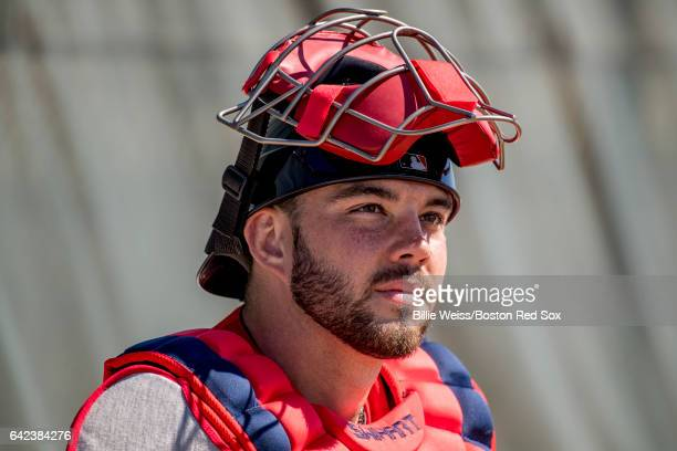 Blake Swihart of the Boston Red Sox reacts during a team workout on February 17 2017 at Fenway South in Fort Myers Florida