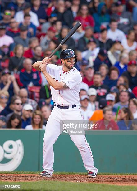 Blake Swihart of the Boston Red Sox stands at home plate during the eighth inning against the Oakland Athletics at Fenway Park on June 6 2015 in...