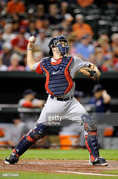 Blake Swihart of the Boston Red Sox throws the ball to second base against the Baltimore Orioles at Oriole Park at Camden Yards on September 14 2015...