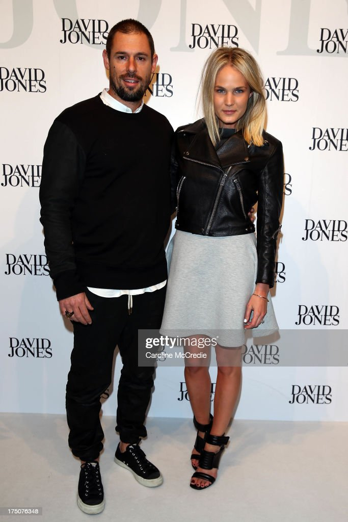 Blake Testoni and Brooke Cullen arrive at the David Jones Spring/Summer 2013 Collection Launch at David Jones Elizabeth Street on July 31, 2013 in Sydney, Australia.