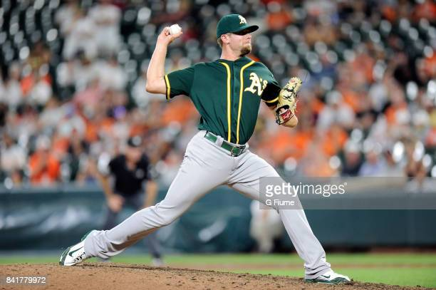 Blake Treinen of the Oakland Athletics pitches against the Baltimore Orioles at Oriole Park at Camden Yards on August 22 2017 in Baltimore Maryland