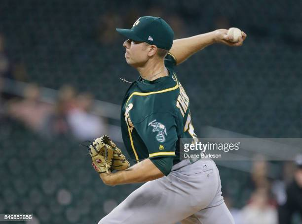 Blake Treinen of the Oakland Athletics pitches against the Detroit Tigers during the ninth inning at Comerica Park on September 19 2017 in Detroit...