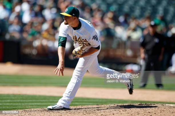 Blake Treinen of the Oakland Athletics pitches against the Minnesota Twins during the ninth inning at the Oakland Coliseum on July 30 2017 in Oakland...