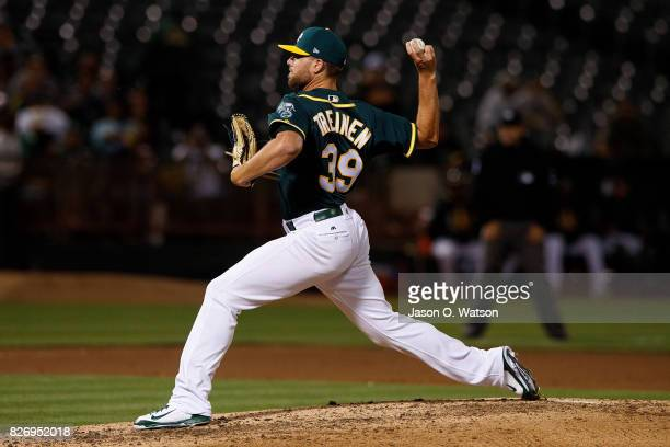Blake Treinen of the Oakland Athletics pitches against the Tampa Bay Rays during the eighth inning at the Oakland Coliseum on July 17 2017 in Oakland...