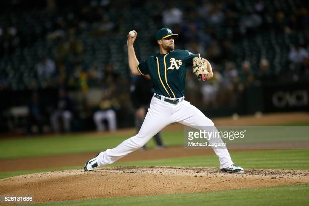Blake Treinen of the Oakland Athletics pitches during the game against the Tampa Bay Rays at the Oakland Alameda Coliseum on July 17 2017 in Oakland...