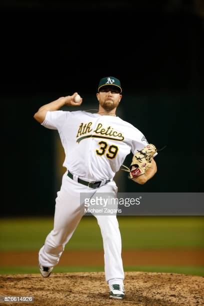 Blake Treinen of the Oakland Athletics pitches during the game against the Tampa Bay Rays at the Oakland Alameda Coliseum on July 18 2017 in Oakland...