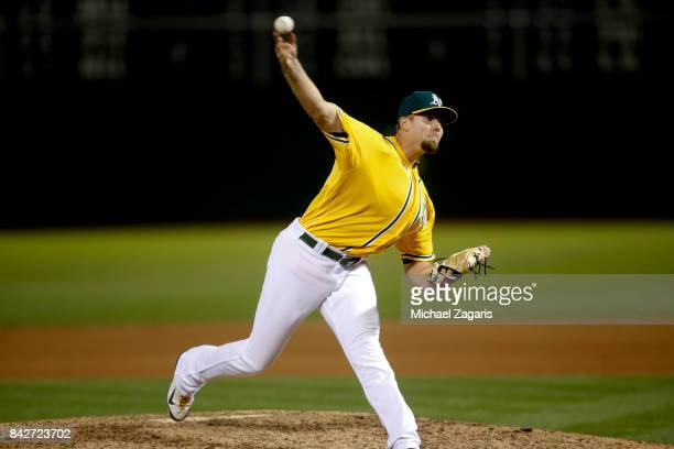 Blake Treinen of the Oakland Athletics pitches during the game against the Kansas City Royals at the Oakland Alameda Coliseum on August 15 2017 in...