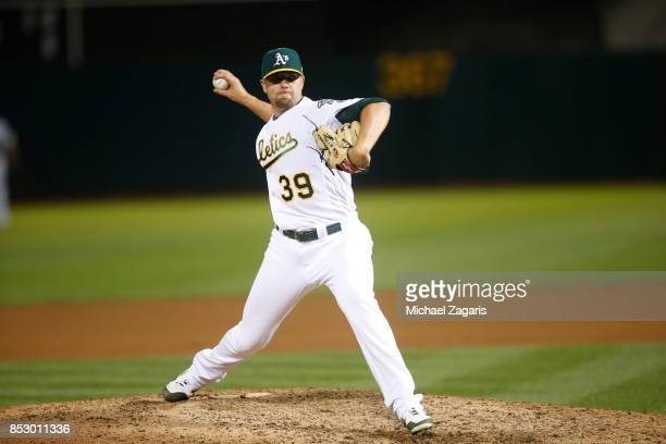 Blake Treinen of the Oakland Athletics pitches during the game against the Houston Astros at the Oakland Alameda Coliseum on September 8 2017 in...
