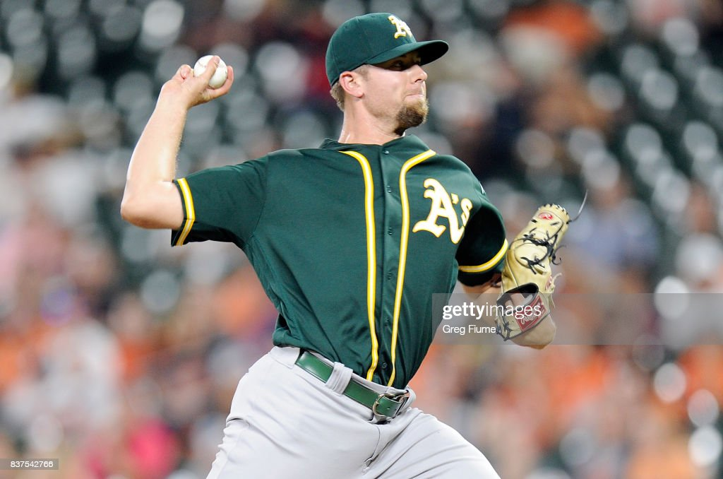 Blake Treinen #39 of the Oakland Athletics pitches in the ninth inning against the Baltimore Orioles at Oriole Park at Camden Yards on August 22, 2017 in Baltimore, Maryland.