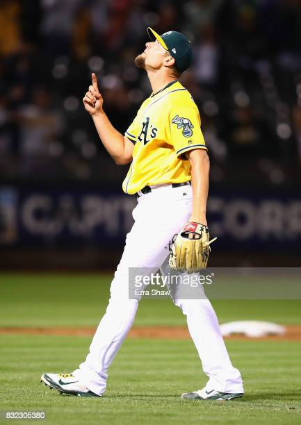 Blake Treinen of the Oakland Athletics reacts after they beat the Kansas City Royals at Oakland Alameda Coliseum on August 15 2017 in Oakland...
