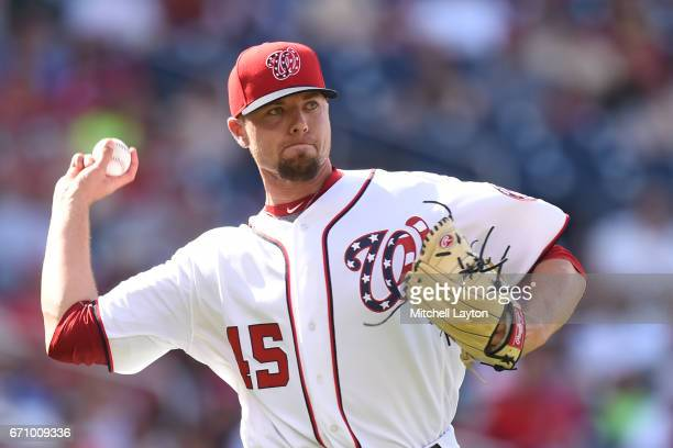 Blake Treinen of the Washington Nationals fields a ground ball during the game against the Philadelphia Phillies at Nationals Park on April 16 2017...