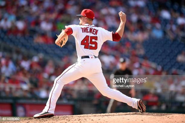 Blake Treinen of the Washington Nationals pitches during the game against the Philadelphia Phillies at Nationals Park on April 16 2017 in Washington...