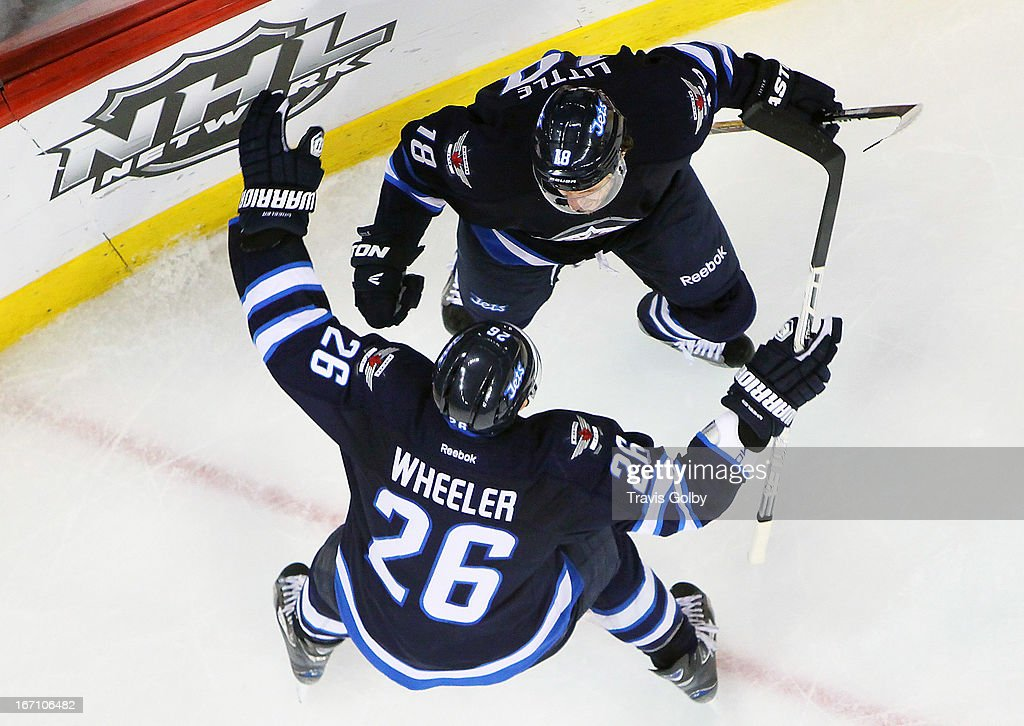 <a gi-track='captionPersonalityLinkClicked' href=/galleries/search?phrase=Blake+Wheeler&family=editorial&specificpeople=716703 ng-click='$event.stopPropagation()'>Blake Wheeler</a> #26 and <a gi-track='captionPersonalityLinkClicked' href=/galleries/search?phrase=Bryan+Little&family=editorial&specificpeople=540533 ng-click='$event.stopPropagation()'>Bryan Little</a> #18 of the Winnipeg Jets celebrate a late third period goal that tied the game against the New York Islanders at the MTS Centre on April 20, 2013 in Winnipeg, Manitoba, Canada.