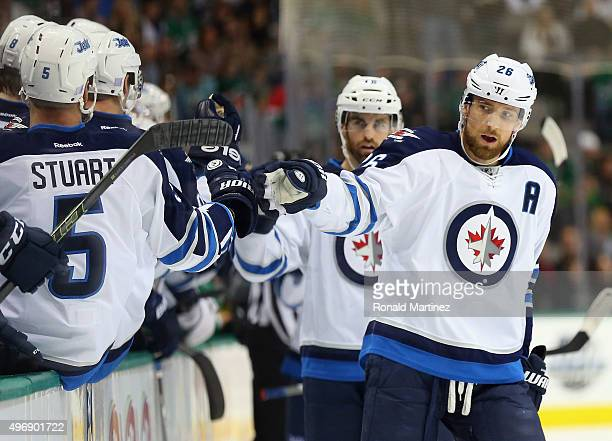 Blake Wheeler of the Winnipeg Jets celebrates a goal in the first period against the Dallas Stars at American Airlines Center on November 12 2015 in...