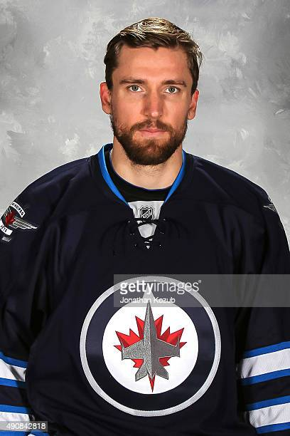 Blake Wheeler of the Winnipeg Jets poses for his official headshot for the 20152016 season on September 17 2015 at the MTS Centre in Winnipeg...
