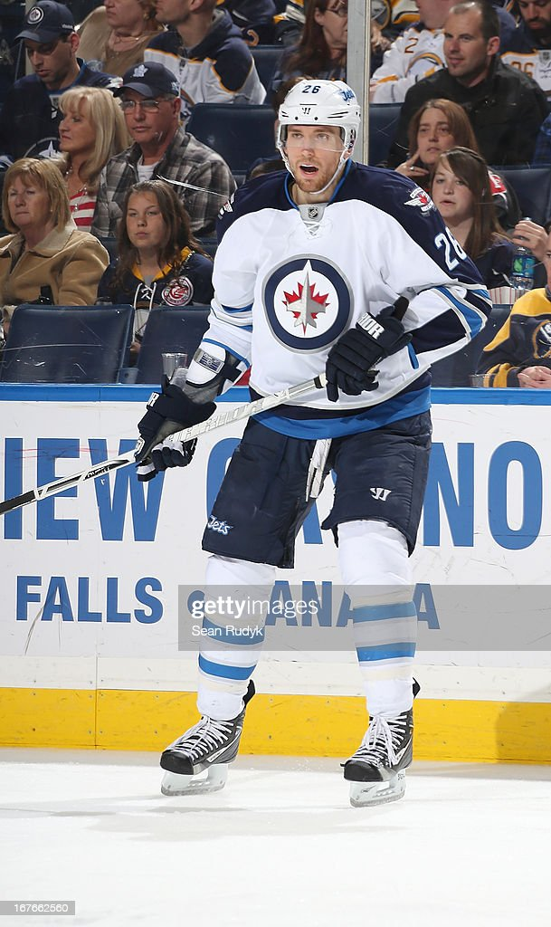 Blake Wheeler #26 of the Winnipeg Jets skates against the Buffalo Sabres at First Niagara Center on April 22, 2013 in Buffalo, New York.