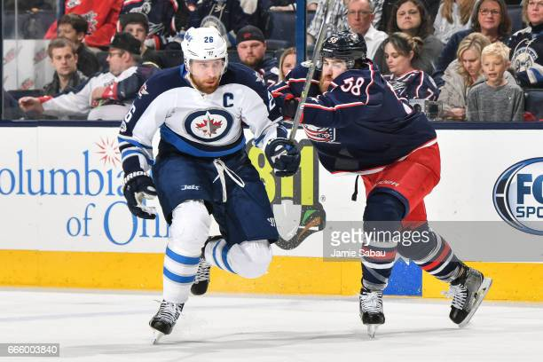 Blake Wheeler of the Winnipeg Jets skates against the Columbus Blue Jackets on April 6 2017 at Nationwide Arena in Columbus Ohio