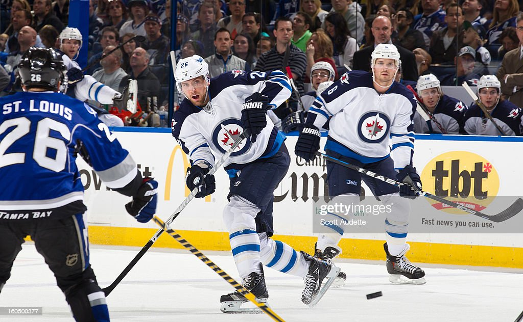 <a gi-track='captionPersonalityLinkClicked' href=/galleries/search?phrase=Blake+Wheeler&family=editorial&specificpeople=716703 ng-click='$event.stopPropagation()'>Blake Wheeler</a> #26 of the Winnipeg Jets takes a shot during the second period of the game against the Tampa Bay Lightning at the Tampa Bay Times Forum on February 1, 2013 in Tampa, Florida.