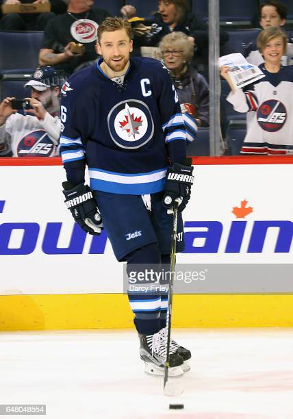 Blake Wheeler of the Winnipeg Jets takes part in the pregame warm up prior to NHL action against the Colorado Avalanche at the MTS Centre on March 4...