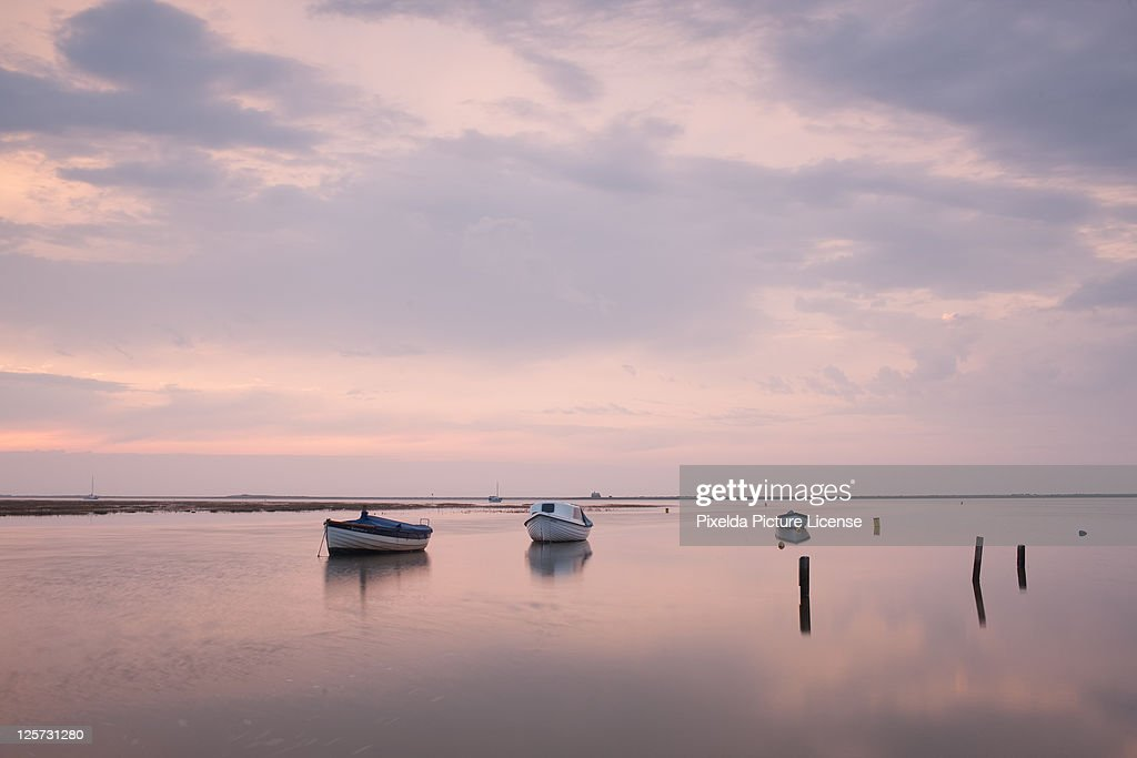Blakeny Boats - high tide - pink sky : Stock Photo